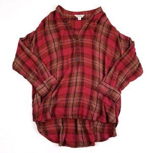 Lucky Brand Red Plaid Button Down Tunic Top Small